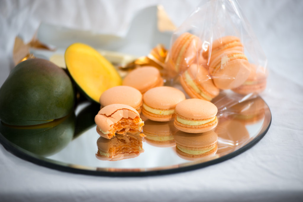 White Chocolate and Mango Macaron