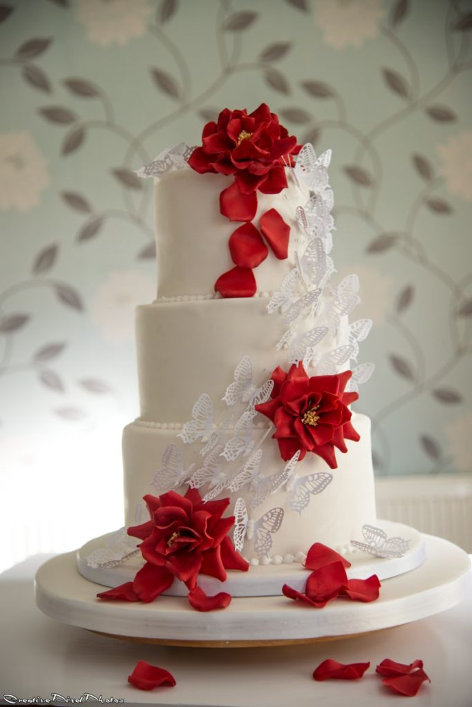 Three Tier Wedding Cake Butterfly Cascade